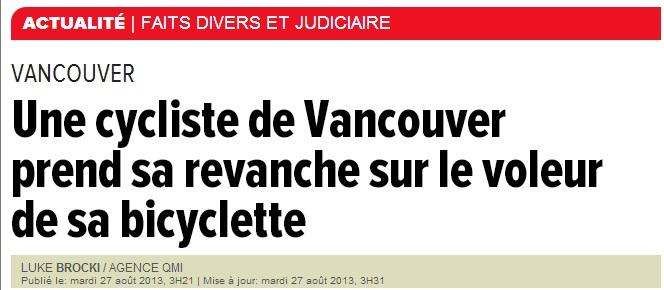 une cycliste se venge titre